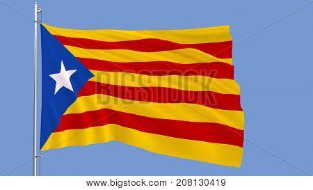 Illustration of informal flag of Catalan lands blue estelada waving in the wind against the sky 3d render
