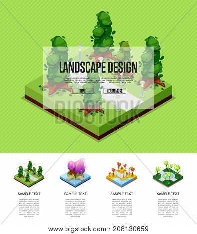 Natural parkland landscape design isometric infographics. Flower bed, lawn with green grass and trees, park path and benches. Public park zone with decorative plants vector illustration