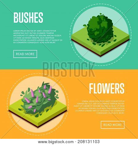 Bushes and flowers for park design isometric posters. Public parkland zone landscape, outdoor natural recreation vector illustration. Decorative plants with green grass 3d elements.