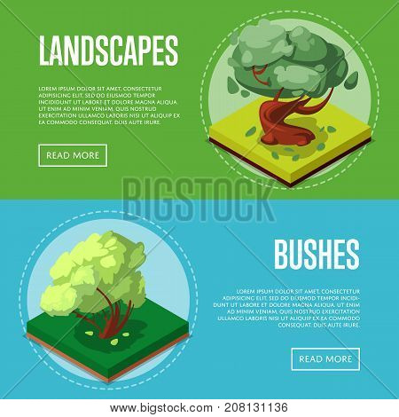Bushes and trees for park design isometric posters. Public parkland zone landscape, outdoor summer natural recreation vector illustration. Decorative plants with green grass 3d elements.