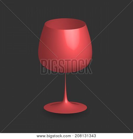 Three dimensional red wine glass with shadow on black background