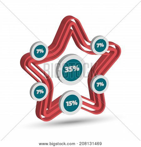 Three dimensional star shape infographic with shadow