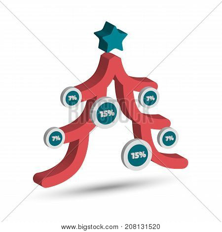 Three dimensional Christmas tree infographic chart with shadow