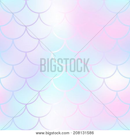 Candy color mermaid seamless pattern. Fantastic fish scale vector pattern. Colorful mermaid tail background. Fish skin texture in gentle pastel colors. Shiny mermaid skin surface. Wedding template