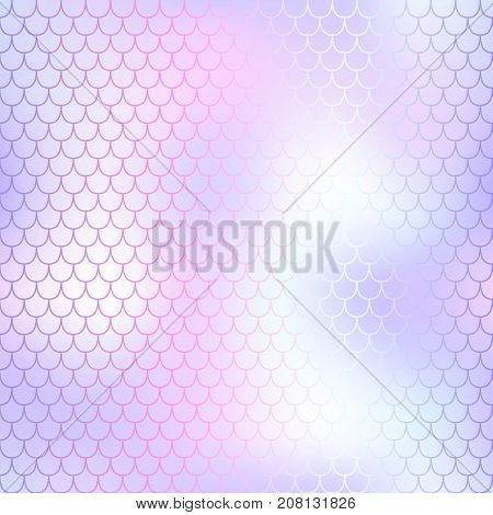 Violet white mermaid seamless pattern. Fantastic fish scale vector pattern. Colorful mermaid tail background. Fish skin texture in gentle pastel colors. Shiny mermaid skin surface. Wedding template