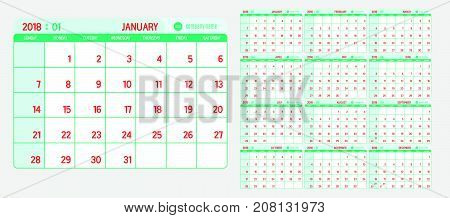 Vector of Calendar 2018 new year with light vintage green and red color in table and simple clean modern style template Week start at Sunday.