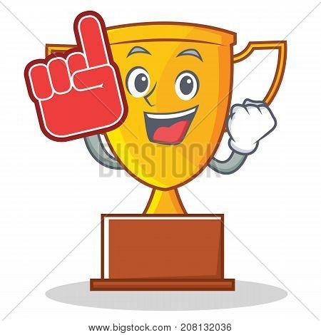 Foam finger trophy character cartoon style vector illustration