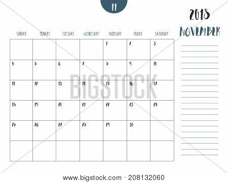 Vector Of Calendar 2018 ( November ) In Simple Clean Table Style With Note Line In Earth Tone Color