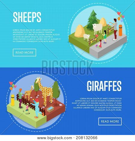 Public zoo with wild animals and visitors isometric 3D posters set. People near sheeps and giraffes in cages. Zoo infrastructure elements for landscape design, outdoor recreation vector illustration