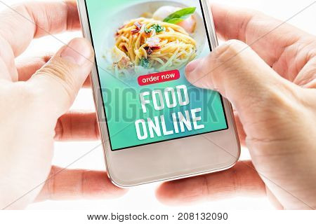 Close Up Two Hand Holding Mobile Phone With Food Online Word And Icons, Digital Marketing Concept