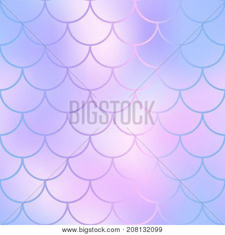 Blue pink mermaid seamless pattern. Fantastic fish scale vector pattern. Colorful mermaid tail background. Fish skin texture in gentle pastel colors. Shiny mermaid skin surface. Wedding template