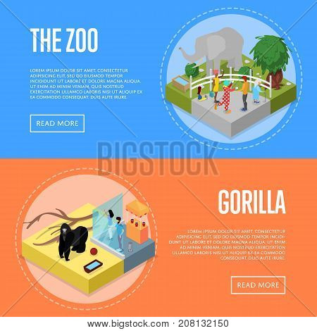 Public zoo with wild animals and visitors isometric 3D posters set. People near elephant and gorilla in cages. Zoo infrastructure elements for landscape design, outdoor recreation vector illustration