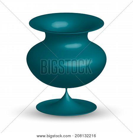 three dimensional ceramic vase on a black background