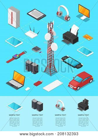 Wireless technologies isometric 3D infographics. TV tower, smart watch, laptop, tablet PC, usb drive, gamepad, printer, mp3 player, wifi router, speakers, server, car, headphones vector illustration.