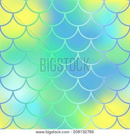 Fantastic yellow green fish skin vector pattern. Mermaid seamless pattern. Fish scale vector pattern. Fish skin texture in pastel colors. Mermaid skin surface. Wedding pattern