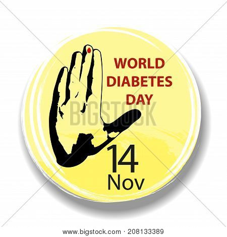 World Diabetes Day. Round symbol with hand and blood drop. Health care. Medical vector illustration.