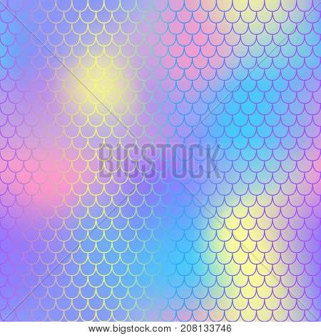 Pink blue fish scale pattern with colorful mesh vector background. Mermaid tail scale pattern swatch. Fantastic mermaid seamless pattern. Aquatic surface design. Smooth color mesh tile. Neon fishscale