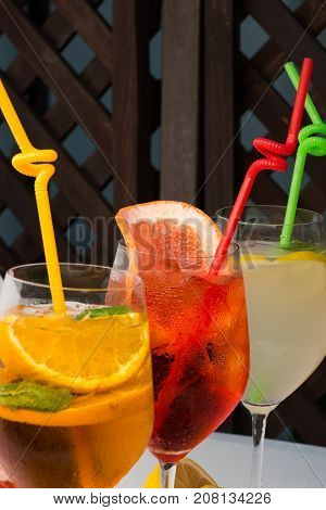 Alcoholic Beverage And Fruit At Restaurant.