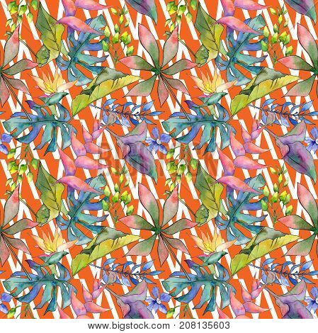 Tropical Hawaii leaves pattern in a watercolor style. Aquarelle wild flower for background, texture, wrapper pattern, frame or border.