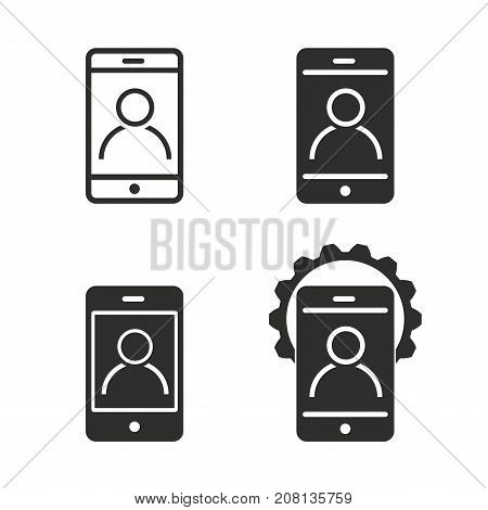 Digital interaction vector icons set. black Illustration isolated for graphic and web design.