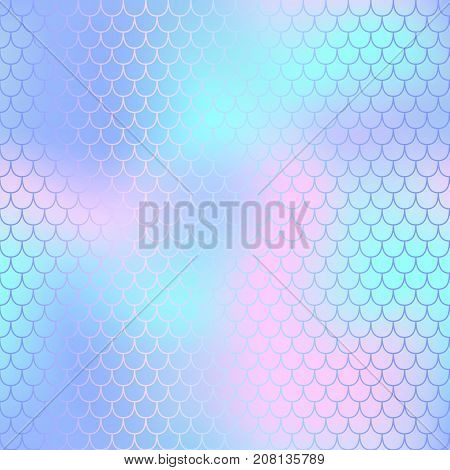 Fish scale pattern with pastel color mesh background. Mermaid vector seamless pattern. Aquatic surface design. Smooth color mesh tile. Marine animal skin ornament. Aquatic pattern. Magic mermaid tail