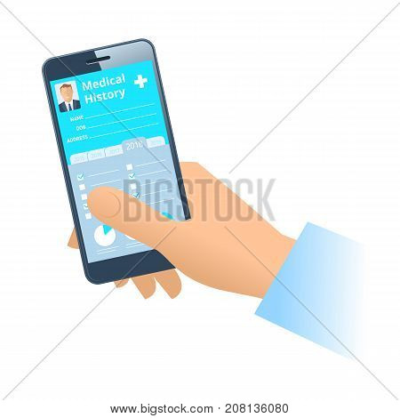 Human hand holds smart phone with patient health medical history. Modern medicine, medical exam and diagnosis flat concept illustration. Vector design elements isolated on white background.
