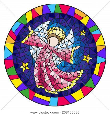 Illustration in stained glass style with an abstract angel in pink robe round picture frame in bright