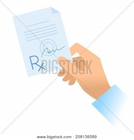 Human hand holds rx prescription. Flat illustration of doctor's hand holding pharmaceutical document. Medicine, medical exam and diagnosis concept. Vector design elements isolated on white background.