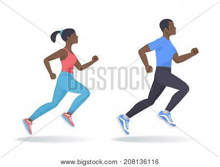 The running afro american people set. Side view of active sporty running young woman, man in a sportswear. Sport, jogging, fitness, workout, training concept. Flat vector illustration isolated on white
