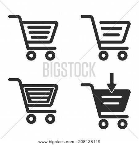 Handcart vector icons set. black Illustration isolated for graphic and web design.