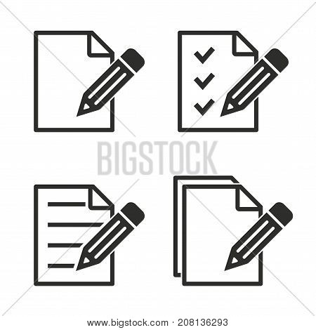 Registration vector icons set. black Illustration isolated for graphic and web design.