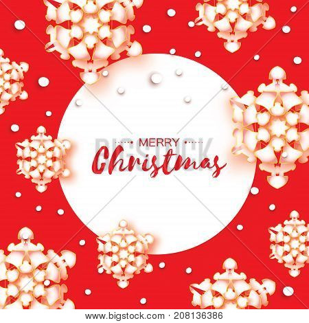 Origami Christmas Greetings card. Paper cut snow flake. Happy New Year. Winter snowflakes background. Happy New Year. Circle frame. Space for text. Red background. Vector illustration.