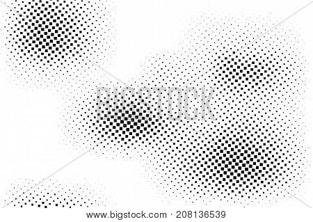 Black white dotted halftone background. Messy halftone pattern. Black dot spots on transparent overlay. Monochrome dotted vector illustration. Rough horizontal halftone gradient. Pop art texture