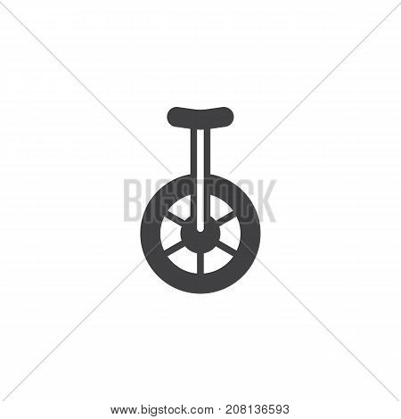 Unicycle icon vector, filled flat sign, solid pictogram isolated on white. Symbol, logo illustration.