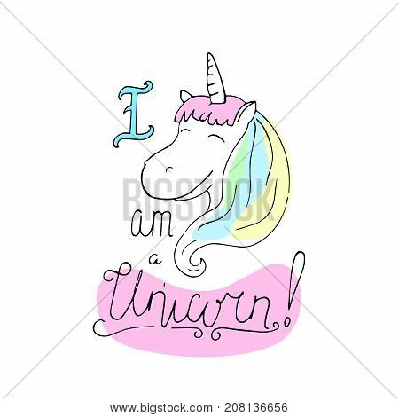 Unicorn vector illustration on white background. Cheerful unicorn girl with rainbow mane. Nursery print with fantastic animal. Magic horse head poster. Unicorn drawing in black line and candy colors