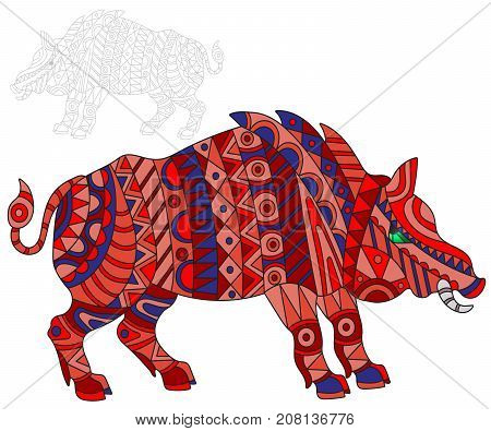 Illustration of abstract red pig swine and painted its outline on white background isolate