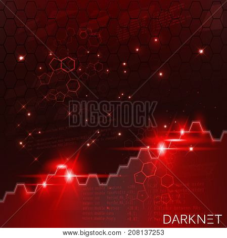 Darknet chart. Technological space red background. Vector eps 10