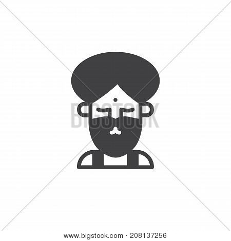 Fakir circus actor icon vector, filled flat sign, solid pictogram isolated on white. Symbol, logo illustration.
