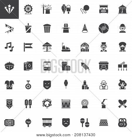 Circus vector icons set, modern solid symbol collection, filled pictogram pack. Signs, logo illustration. Set includes icons as magician, strongman, clown, magic trick, mask, unicycle carousel