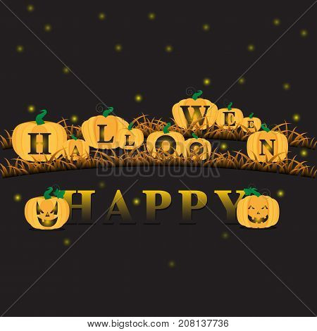 Happy Halloween Jack o' lantern pumpkins stock vector