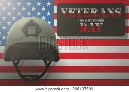 Military helmet on the background of the American flag with Veterans day Poster of WWII or modern wars. Vector Illustration.