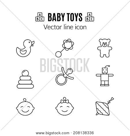 Baby toys thin line icon. Outline symbol kid plaything for games to design for the design of children's website, clinic and mobile applications. Simple baby vector sign on white background. Robot, teddy bear, rattle, yule and others kid pictograms.
