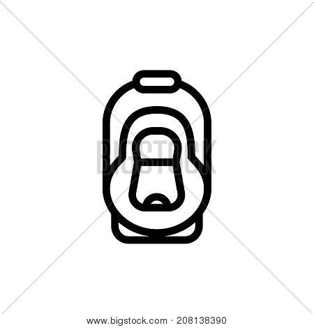 Baby car seat thin line icon. Automobile cradle outline vector simple pictogram. Armchair for child safety in the car.