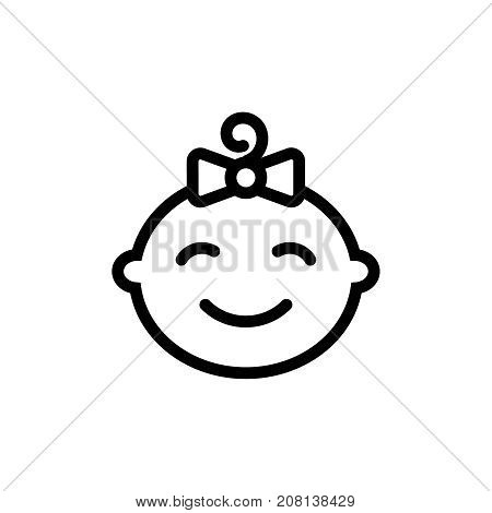 Cute baby girl face thin line icon. Outline symbol little girl for the design of children's webstie and mobile applications. Outline stroke kid pictograms.
