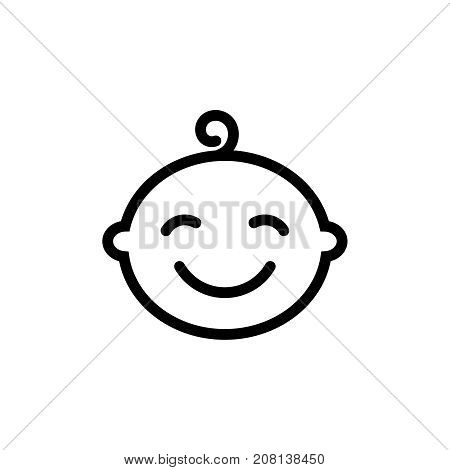 Cute baby boy face thin line icon. Outline symbol little boy for the design of children's webstie and mobile applications. Outline stroke kid pictograms.