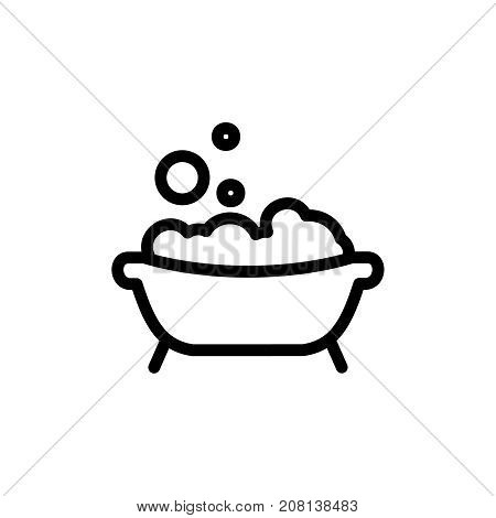 Baby bath thin line icon. Outline symbol bath with foam and bubbles for the design of children's webstie and mobile applications. Outline stroke kid bathing pictogram.