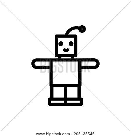 Robot thin line icon. Outline symbol newborn baby toy for the design of children's webstie and mobile applications. Outline stroke kid android pictogram.