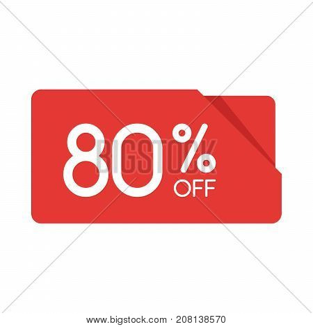 Special Offer Sale Red Rectangle Origami Tag. Discount 80 Percent Offer Price Label, Symbol For Adve