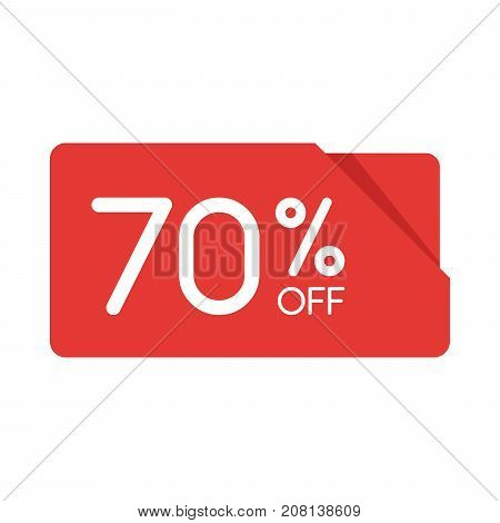Special Offer Sale Red Rectangle Origami Tag. Discount 70 Percent Offer Price Label, Symbol For Adve