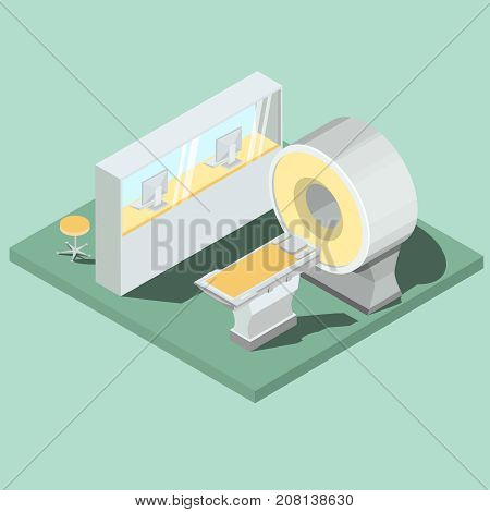 Medical cabinet with magnetic resonance imaging equipment, MRI scanner operator workplace with seat isometric projection vector illustration. High technologies for modern medicine diseases diagnosis